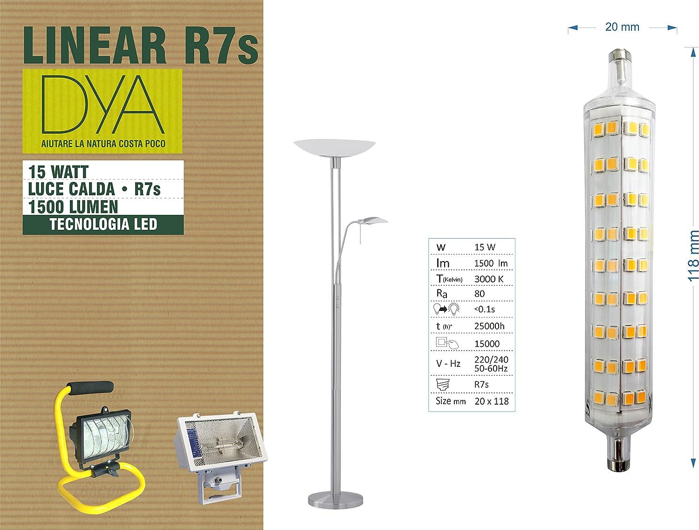 Bombilla lineal R7s, 15 W, 1500 lúmenes, luz cálida, diseño superfino: Amazon.es: Iluminación