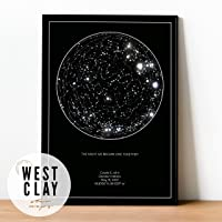 Personalized Star Constellation Map WITH Frame Option, Minimal Star Chart, Night Sky Poster