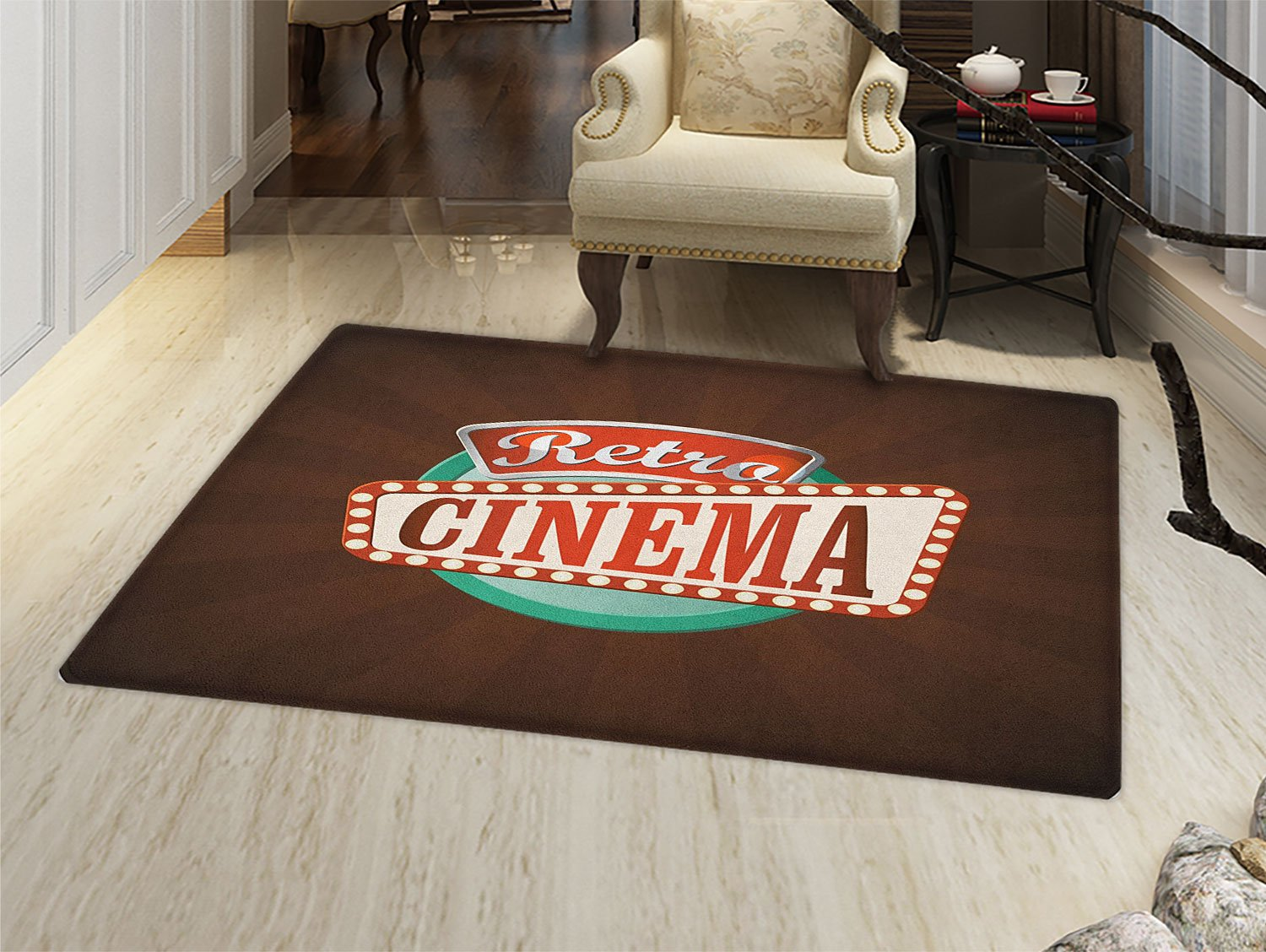 smallbeefly Movie Theater Door Mat indoors Retro Style Cinema Sign Design Film Festival Hollywood Theme Customize Bath Mat with Non Slip Backing Brown Turquoise Vermilion