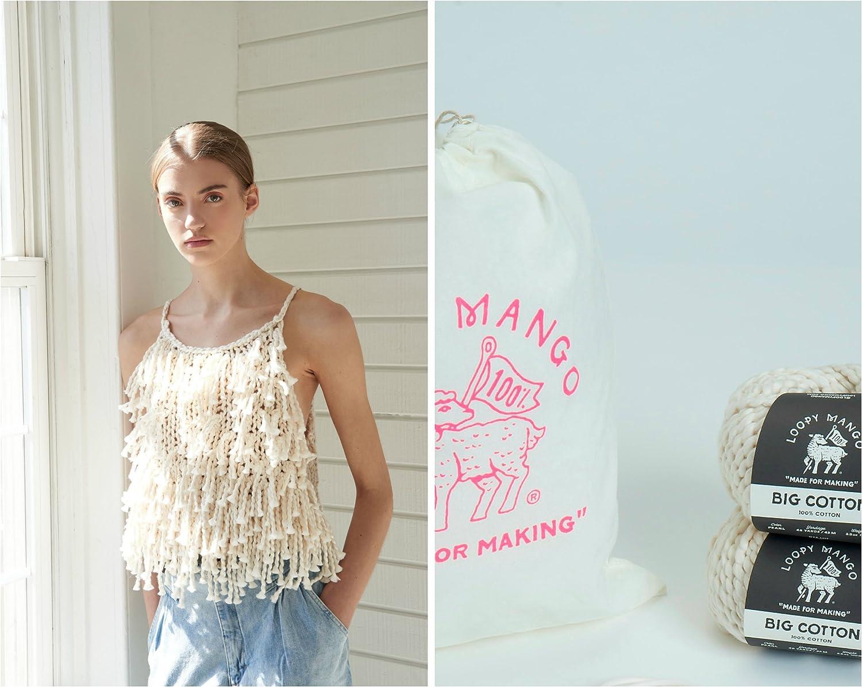 Small//Medium Summer Fringe Crop Top Big Cotton Loopy Mango DIY Knit Kit Castaway