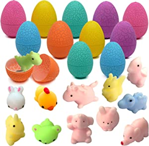 12 Pcs Filled Easter Eggs with 12 Pcs Mochi Squishies, Kawaii Squishy Toys for Easter Party Favors, Squishies Stress Relief Toys for Boys & Girls Age 6 7 8 9 10+, Basket Stuffers for Kids