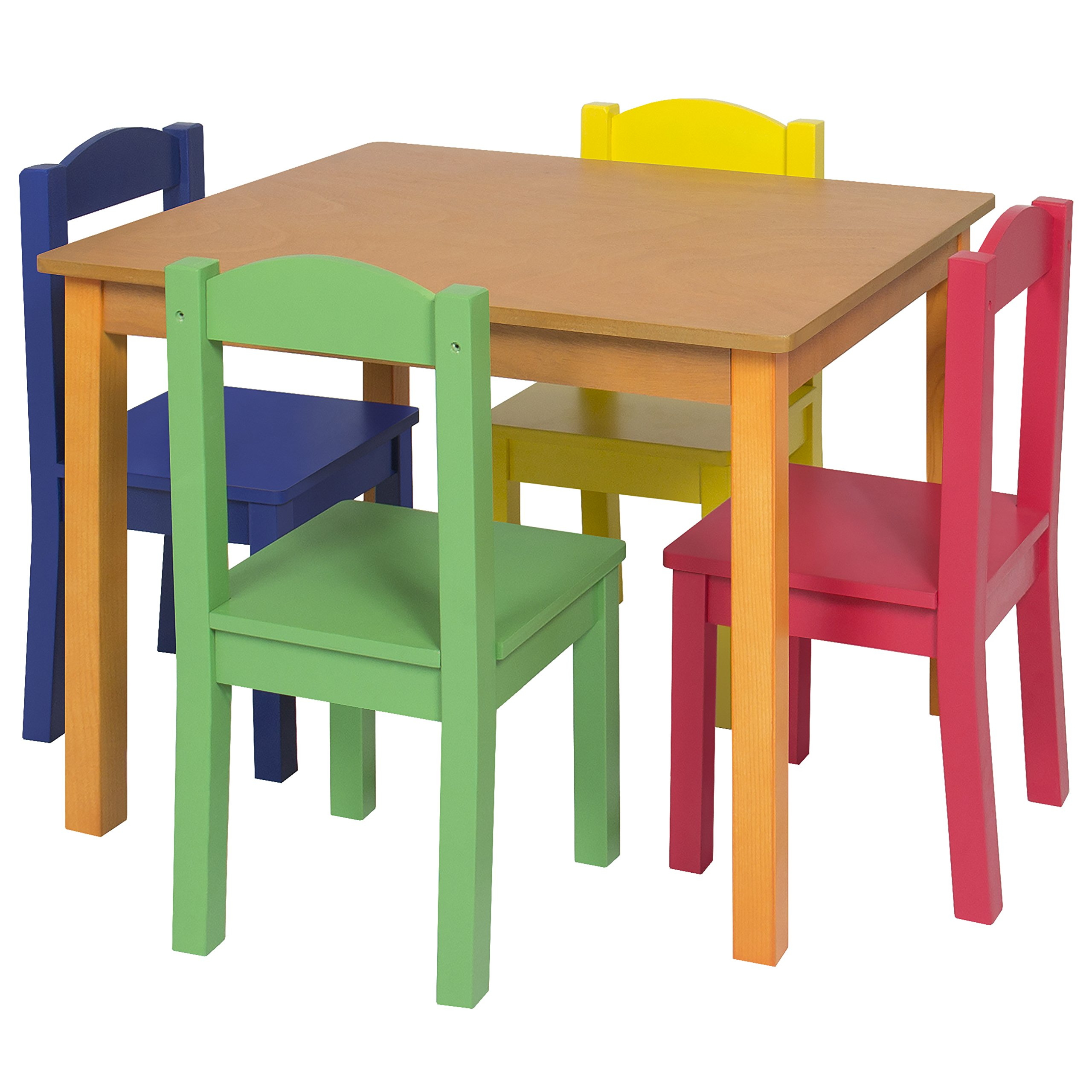 Best Choice Products Kids Wooden Table and 4 Chair Set Furniture- Primary/Natural