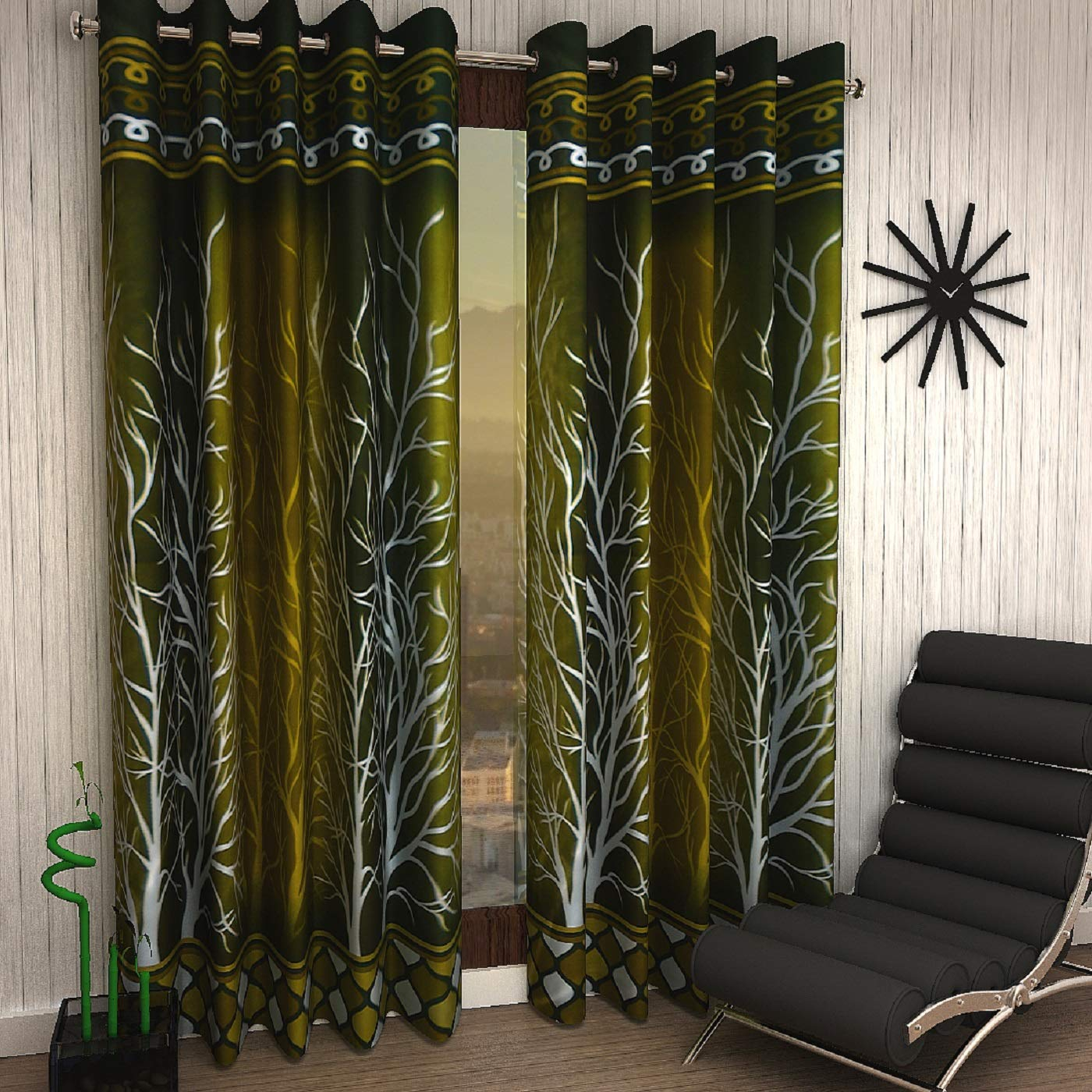 Home Sizzler 2 Piece Eyelet Polyester Door Curtain Set - 7ft, Green (B06WP1VXQQ) Amazon Price History, Amazon Price Tracker