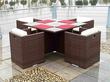 Bel Air Poly Rattan Dining Table Set Brown Wicker Amazon De Garten