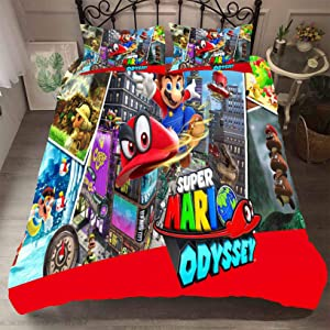 Jacrarr 3D Super Mario Duvet Cover Set Children Cartoon Super Mario Bedding Set Kids Boys Girs and Teenagers Bed Set 3PC 1 Duvet Cover 2Pillowcases Full Size
