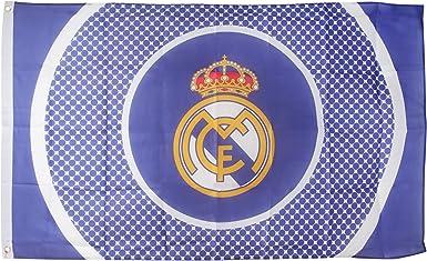 Real Madrid CF Official - Bandera estampado círculos con escudo (1.5 x 0.9 m/Azul/Blanco): Amazon.es: Ropa y accesorios