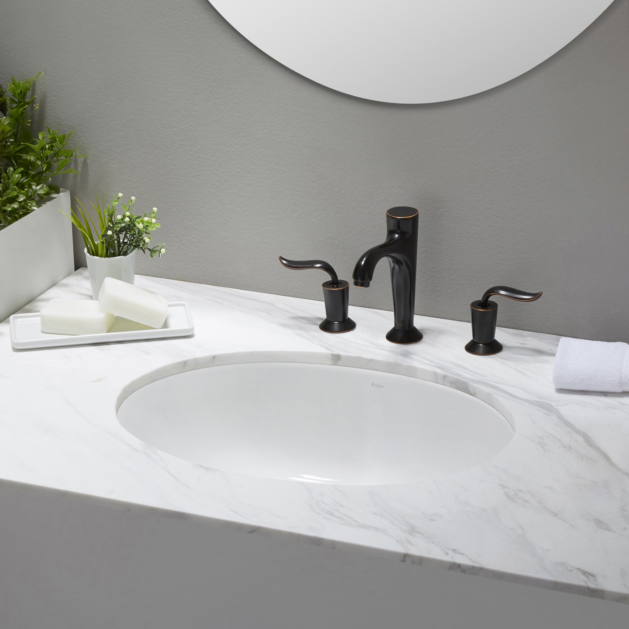 KRAUS Elavo 17 Inch Oval Undermount Porcelain Ceramic Bathroom Sink in White with Overflow, KCU-211 by Kraus (Image #14)