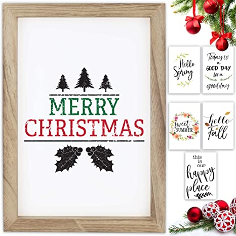 Amazon Com Farmhouse Wall Decor Signs With 10 Interchangeable Sayings For Christmas Thanksgiving Decoration Easy To Hang 11x16 Rustic Wood Picture Frame With 10 Designs Merry Christmas Decor For Your