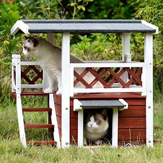 Aivituvin Dog Cat House Outdoor And Indoor Feral Pet Houses With Stairs For Cats Insulated Weatherproof Roof Amazon In Pet Supplies