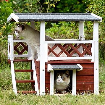 Amazon.com: Aivituvin - Casa de madera para perros y gatos ...