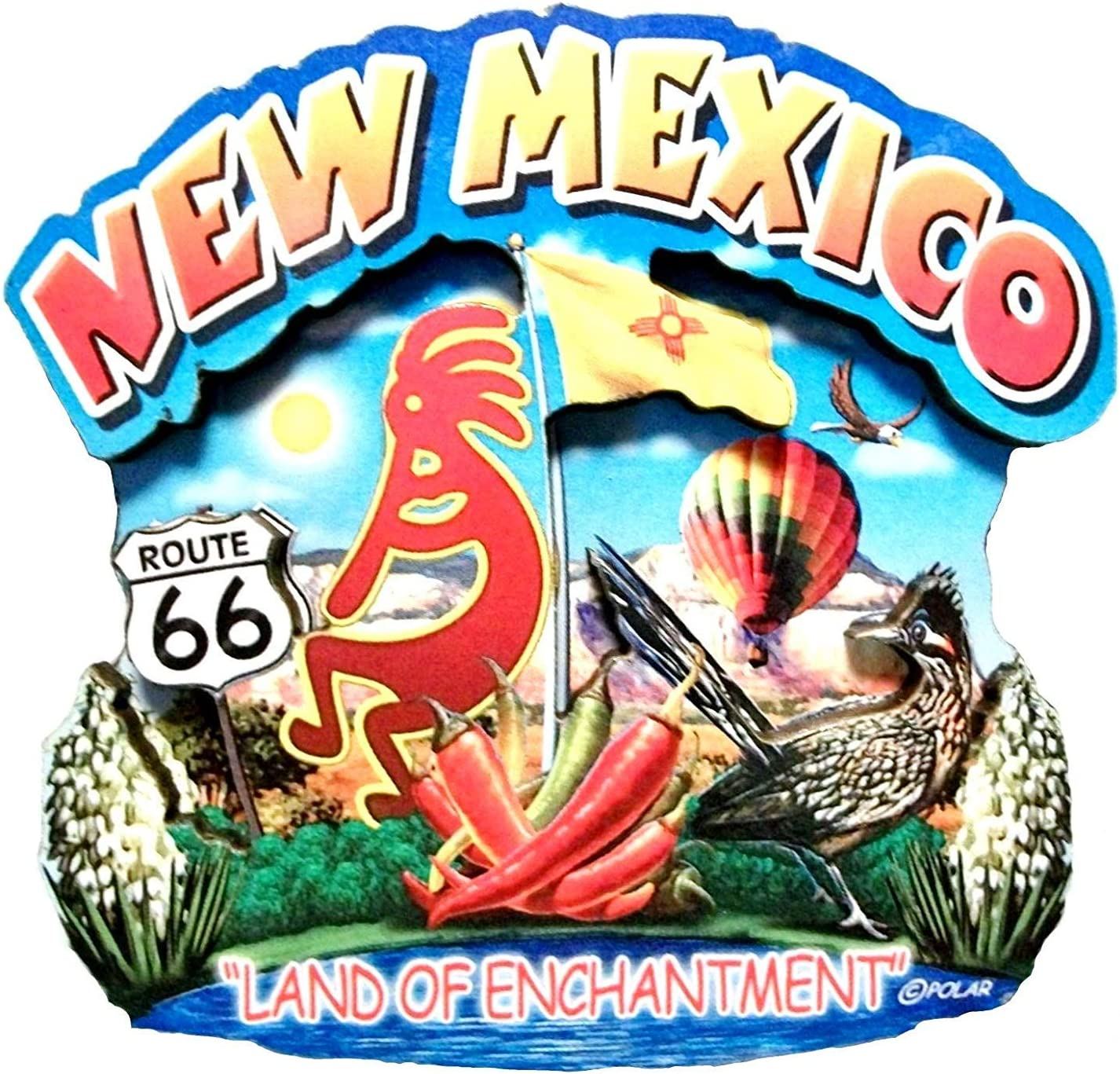 New Mexico State Montage Wood Fridge Magnet 2