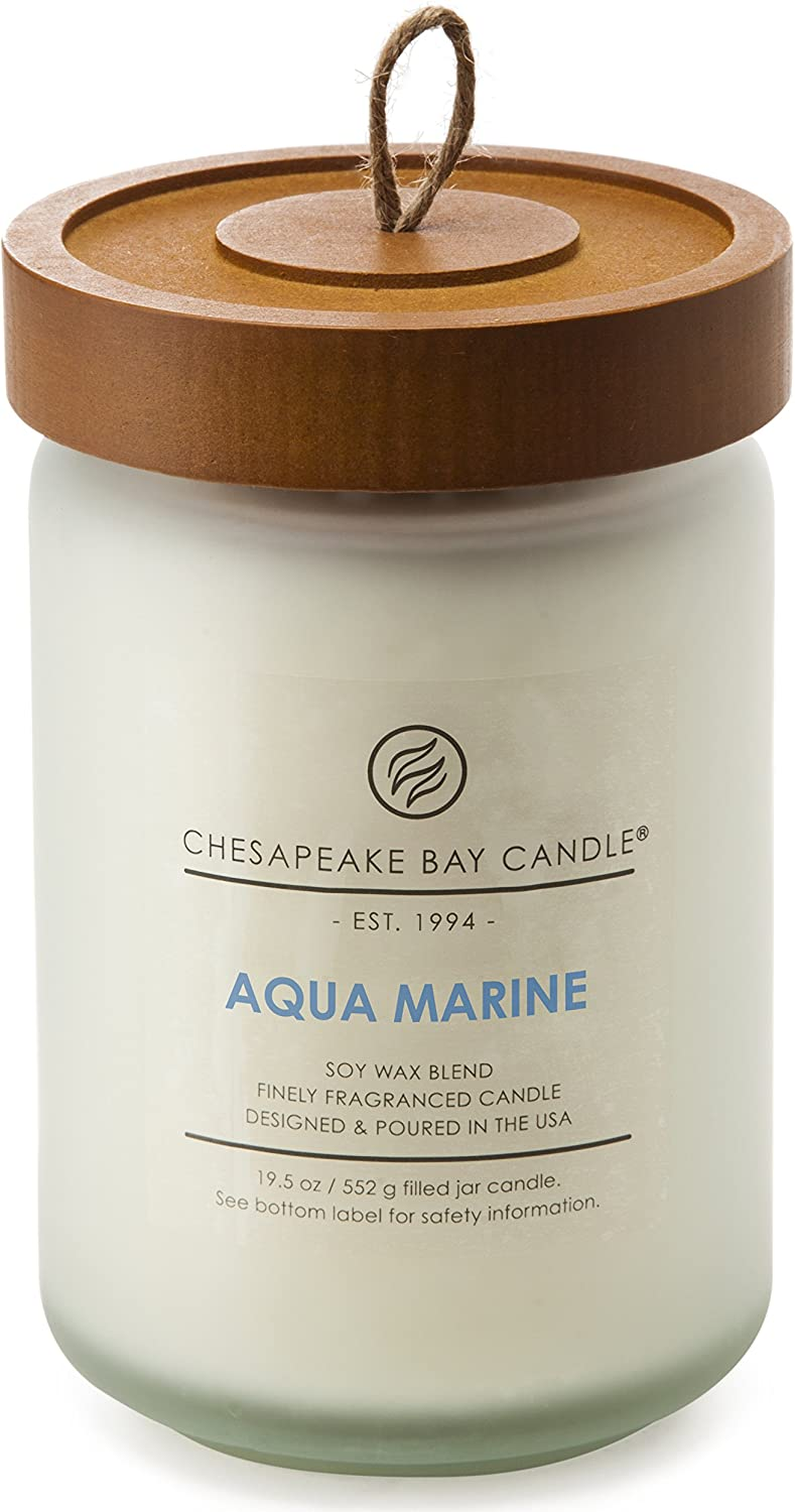 Chesapeake Bay Candle Scented Candle, Aqua Marine (Waterlily Seagrass), Large Jar