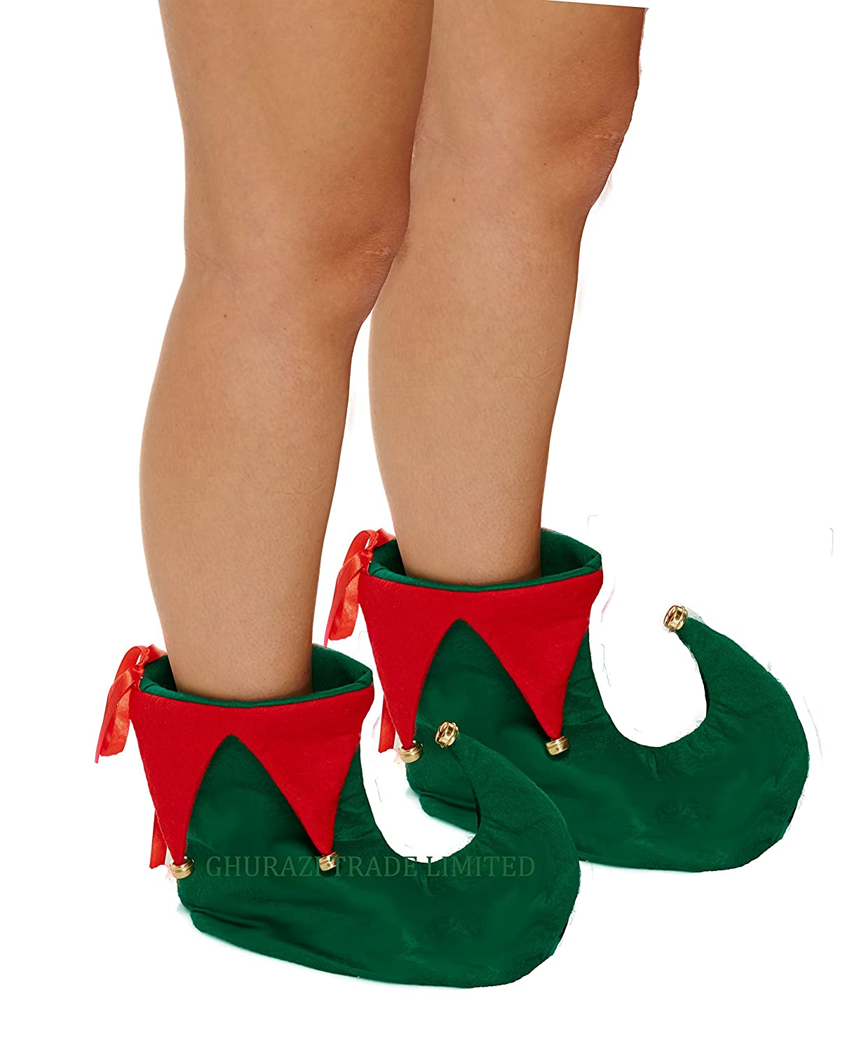 LADIES RED GREEN STRIPED TIGHTS ELF JESTER PIXIE CHRISTMAS FANCY DRESS ACCESSORY