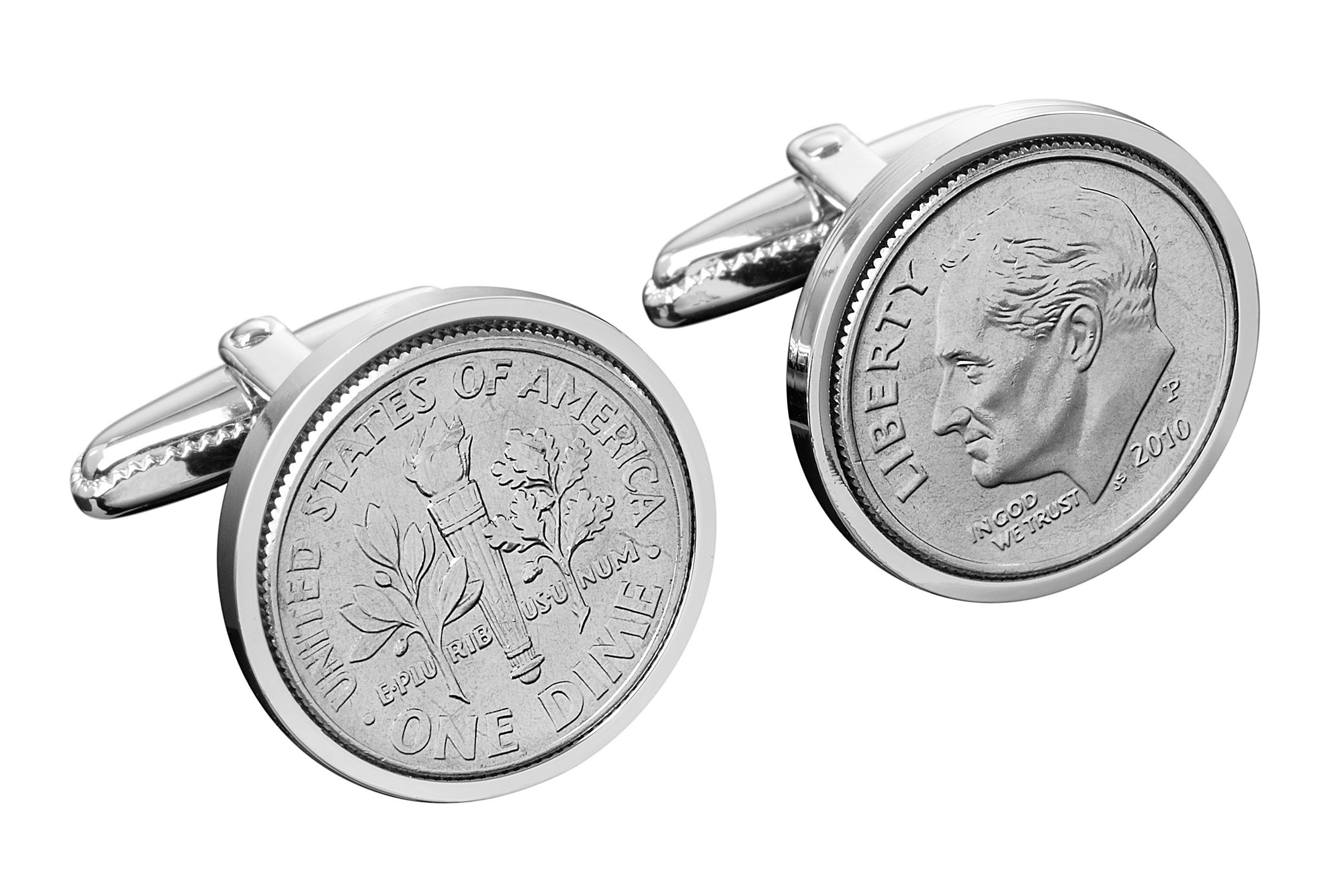 Men's Dime Cuff Links (Pair) US Mint Coins   Sterling Silver Designer Accessories   Small, Metal Rotating Clasps   Intricate Details