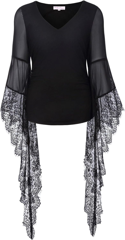 Women Gothic Long Sleeve Tops Shirt Ladies High Low Loose Asymmetric Blouse 8-26