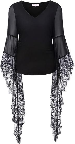 Women Gothic Punk Style Vintage T-shirts Short Sleeve Blouse Dark Big Tops