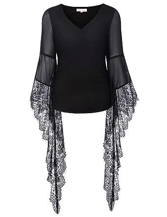 1de282e9cb Belle Poque Women s Victorian Gothic Top Solid Black Club Party Steampunk  Tee Shirts BP000349-1