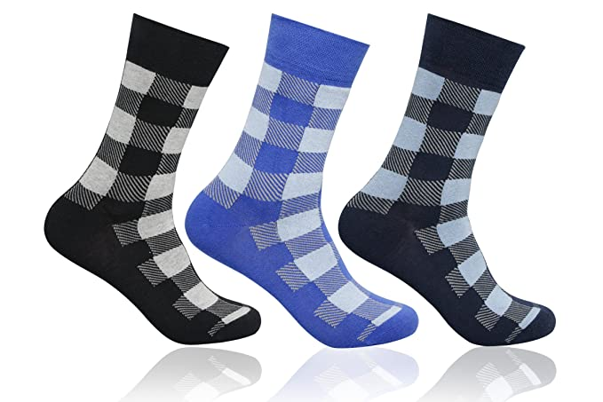 9c224b0808d Supersox Men s Pack of 3 Regular Combed Cotton Checked Socks (Combo ...