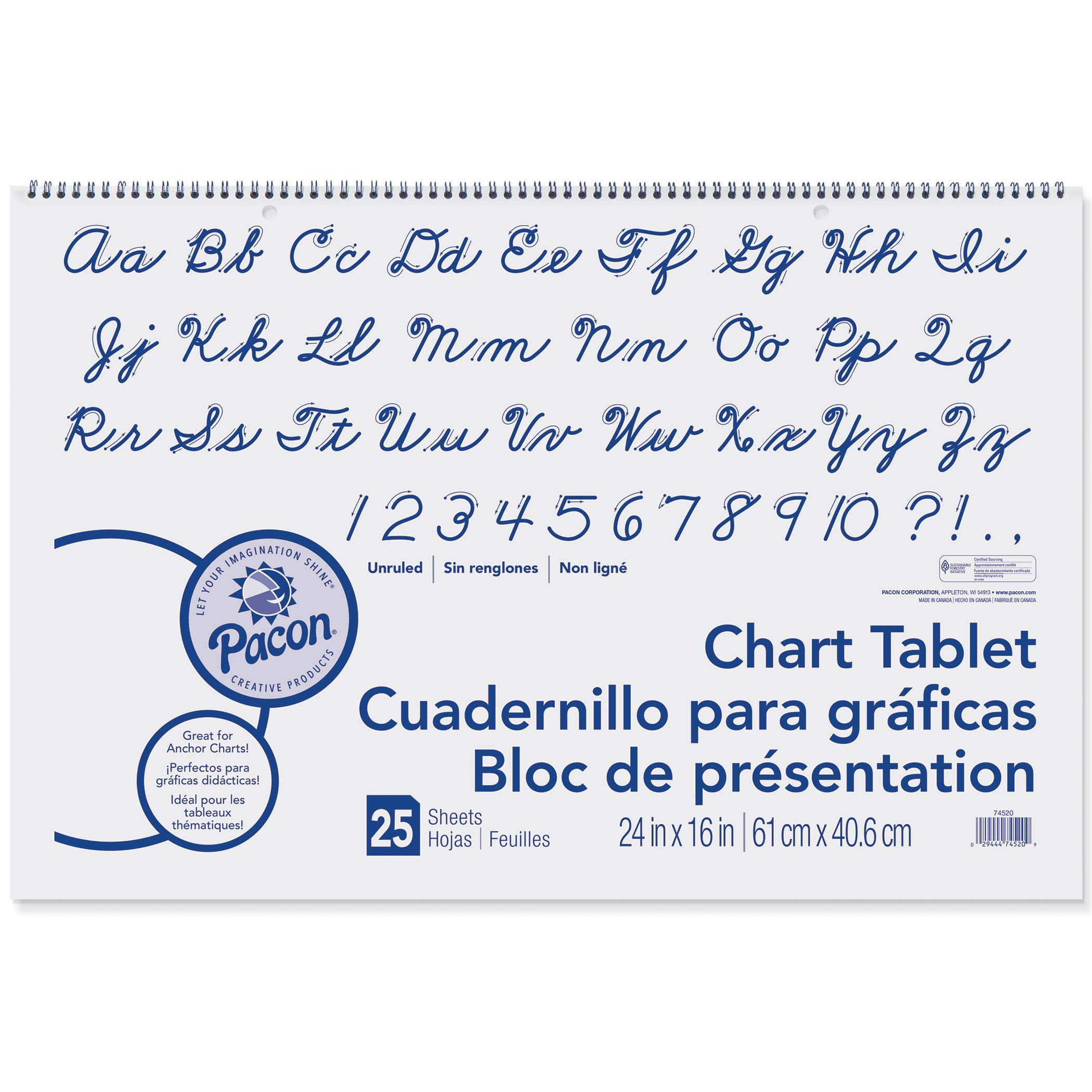 Pacon PAC74520BN Chart Tablet, Cursive Cover, Unruled, 24'' x 16'', 25 Sheets, Pack of 6 by PACON