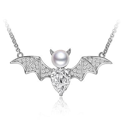 Amazon necklace 925 sterling silver pendant necklace cz necklace925 sterling silver pendant necklace cz freshwater cultured pearl pendantquotgothic vampire batquot aloadofball Choice Image