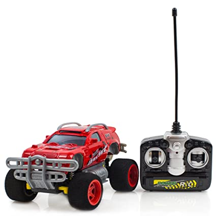 Battery Operated 4 Turbo Monster Truck Radio Control Red Toy Car, 27mhz Supersensitive remote control