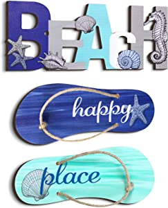 3 Pieces Beach Sign with Ocean Shells and Starfish Elements Wooden Slippers Hanging Decor Nautical Beach Wall Ornament Decor for Coastal Theme Interior Beach House Decor Home Decor Beach