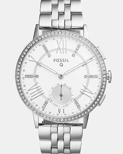 Fossil Q Gazer Hybrid Silver Stainless Steel Smartwatch Women's Watches at amazon