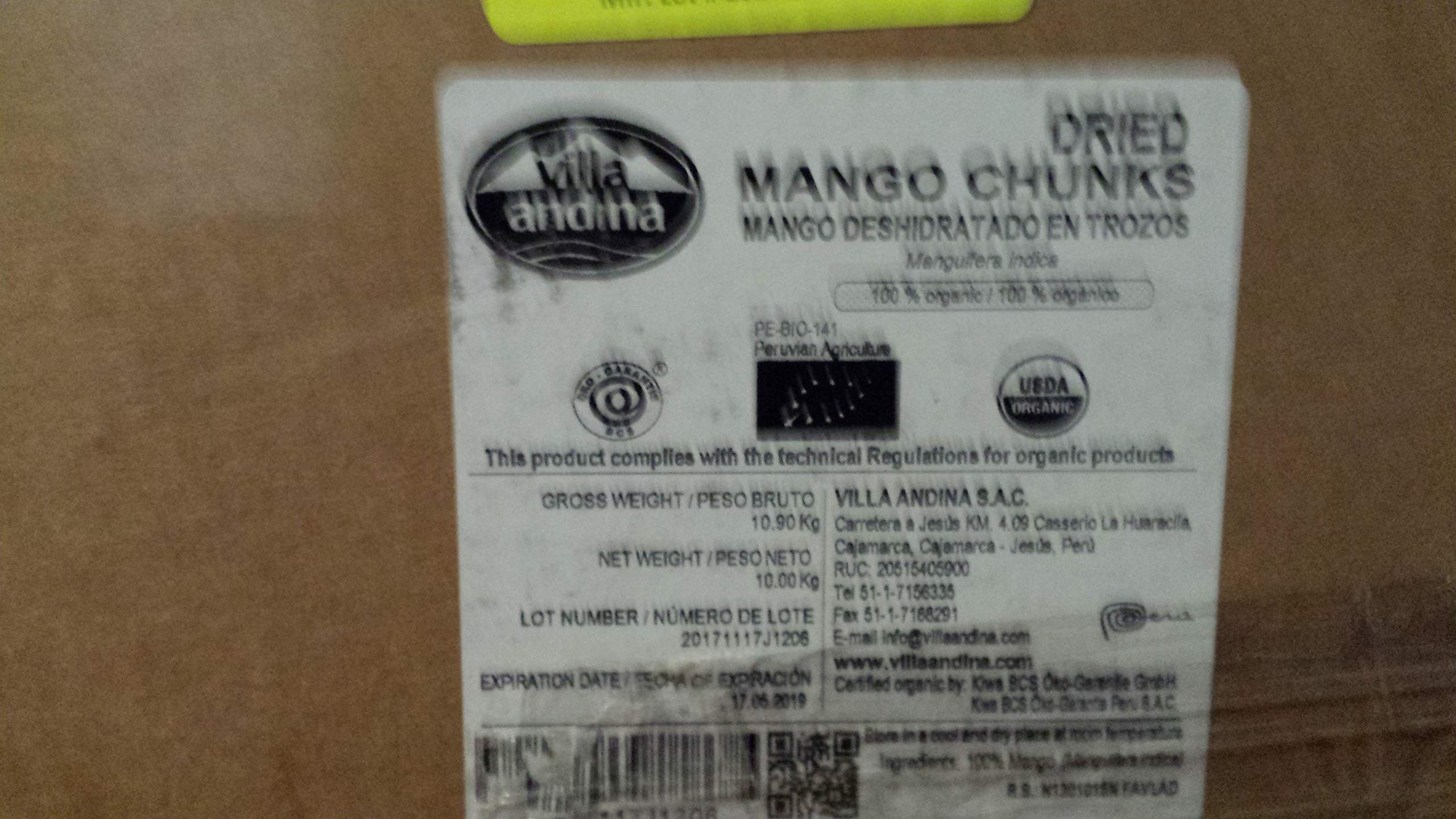 Organic Dried Mango Pieces, 22.046lb