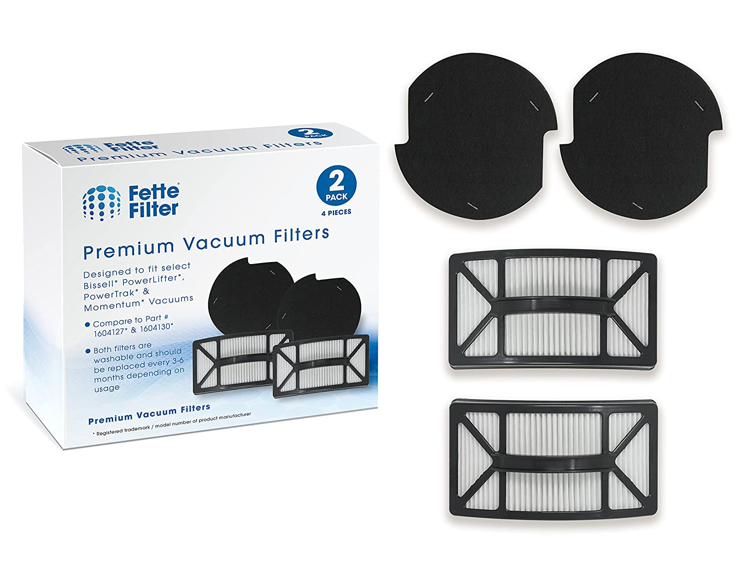 Fette Filter - Filter Kit Compatible with Bissell Powerlifter PowerTrak Pet Vacuum. Contains 2 Pre Motor 1604127 Filters and 2 Post Motor 1604130 Filters.
