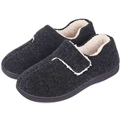 Men's Fuzzy Wool-Like Memory Foam Slippers Closed Back Fleece House Shoes with Adjustable Hook and Loop | Slippers