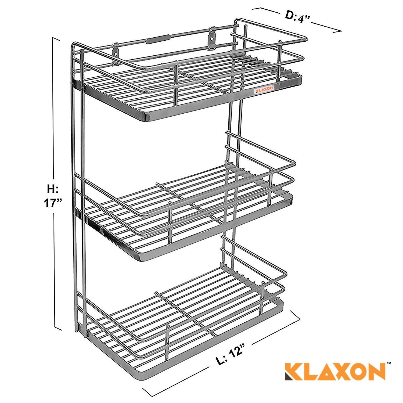 Klaxon kitchen rack wall mounted stainless steel kitchen tripple shelf rack silver amazon in home kitchen