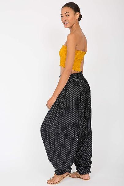 f9081945af6e likemary Harem Jumpsuit and Hareem Pants 2 in 1 Cotton Printed Bandeau  Romper Black Fleurs  Amazon.co.uk  Clothing