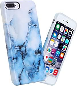 iPhone 7 Plus Case, 5.5 inch Slim Shockproof Glossy Pattern Soft Flexible TPU Cover Case for Apple iPhone 7 Plus, White Blue Marble