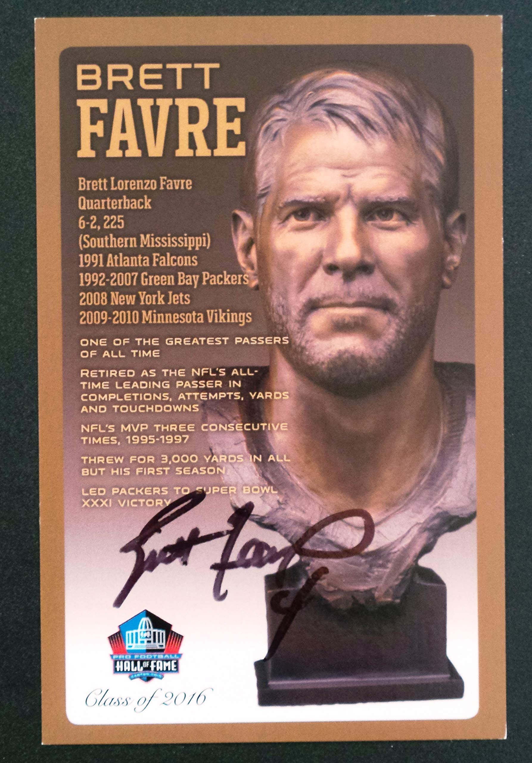 PRO FOOTBALL HALL OF FAME Brett Favre NFL Bronze Bust Set Card Autographed Limited Edition 1 of 150 by PRO FOOTBALL HALL OF FAME