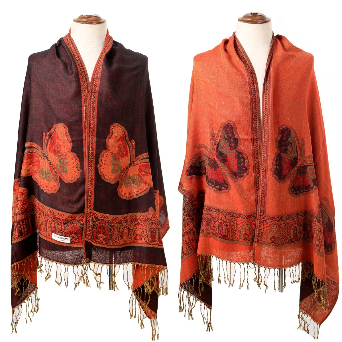 New Black Red Women's Reversible Two-Face Silk Pashmina Shawl Scarf Butterfly by CK sky Scarf