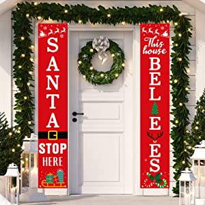 Dazonge Christmas Decorations Outdoor Indoor | Santa Stop Here & This House Believes Vertical Signs | Vintage Christmas Porch Door Banners | Farmhouse Winter Holiday Decor