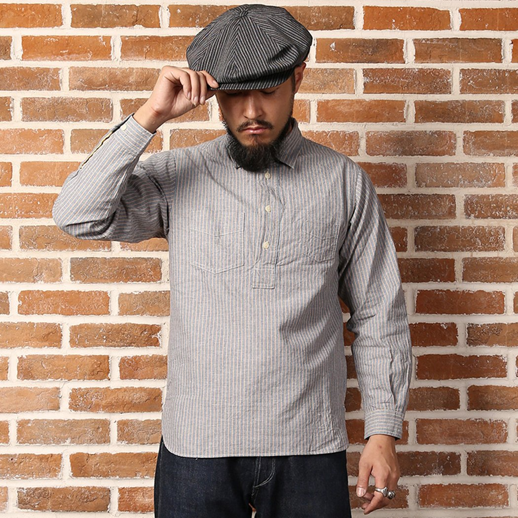1920s Style Mens Shirts | Peaky Blinders Shirts and Collars Bronson Back To Old Time Jumper Linen Overalls Shirt $49.99 AT vintagedancer.com