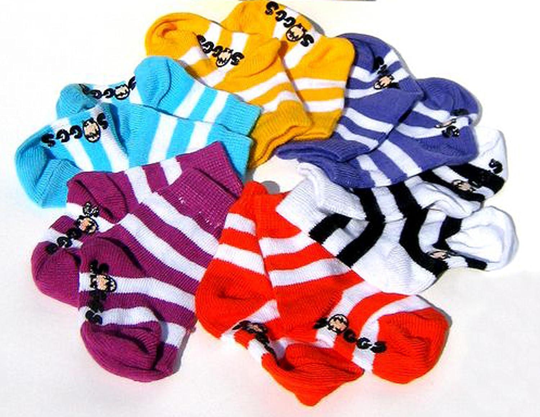 Xplorys TWE Soggs Baby. Sechs Paar Streifen Baby Socken verpackt in ein Ei Box SO160110