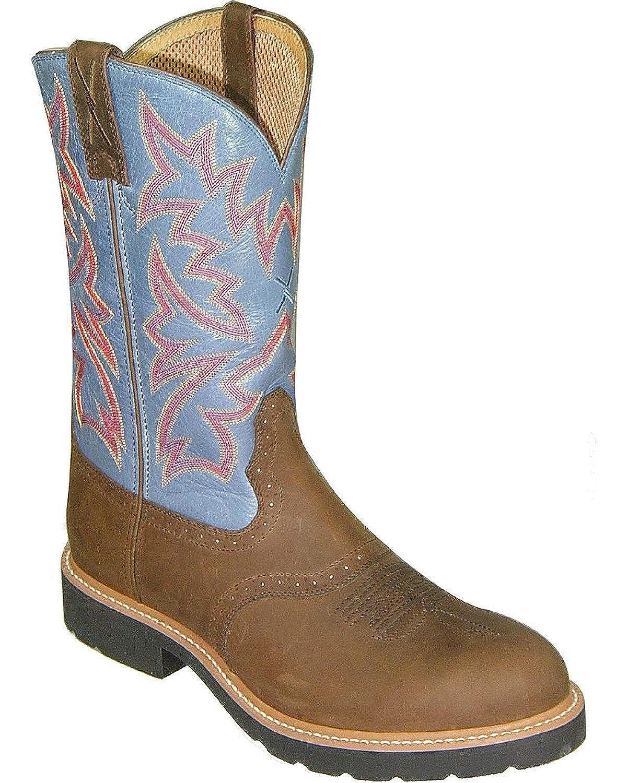 Twisted X Men's Saddle Vamp Pull-On Work Boot Steel Toe Saddle Brown 10.5 EE US