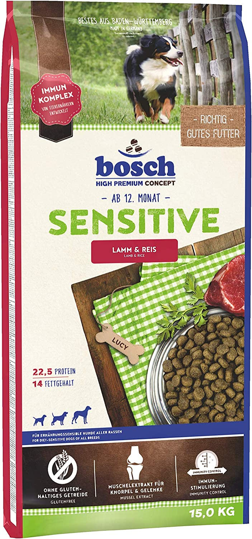 bosch HPC Sensitive |Cordero y Arroz | Comida seca para perros nutricionalmente sensibles de todas las razas | 15 kg