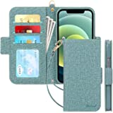 Skycase Compatible for iPhone 12 Case/Compatible for iPhone 12 Pro Case 5G,[RFID Blocking]Handmade Flip Folio Wallet Case wit