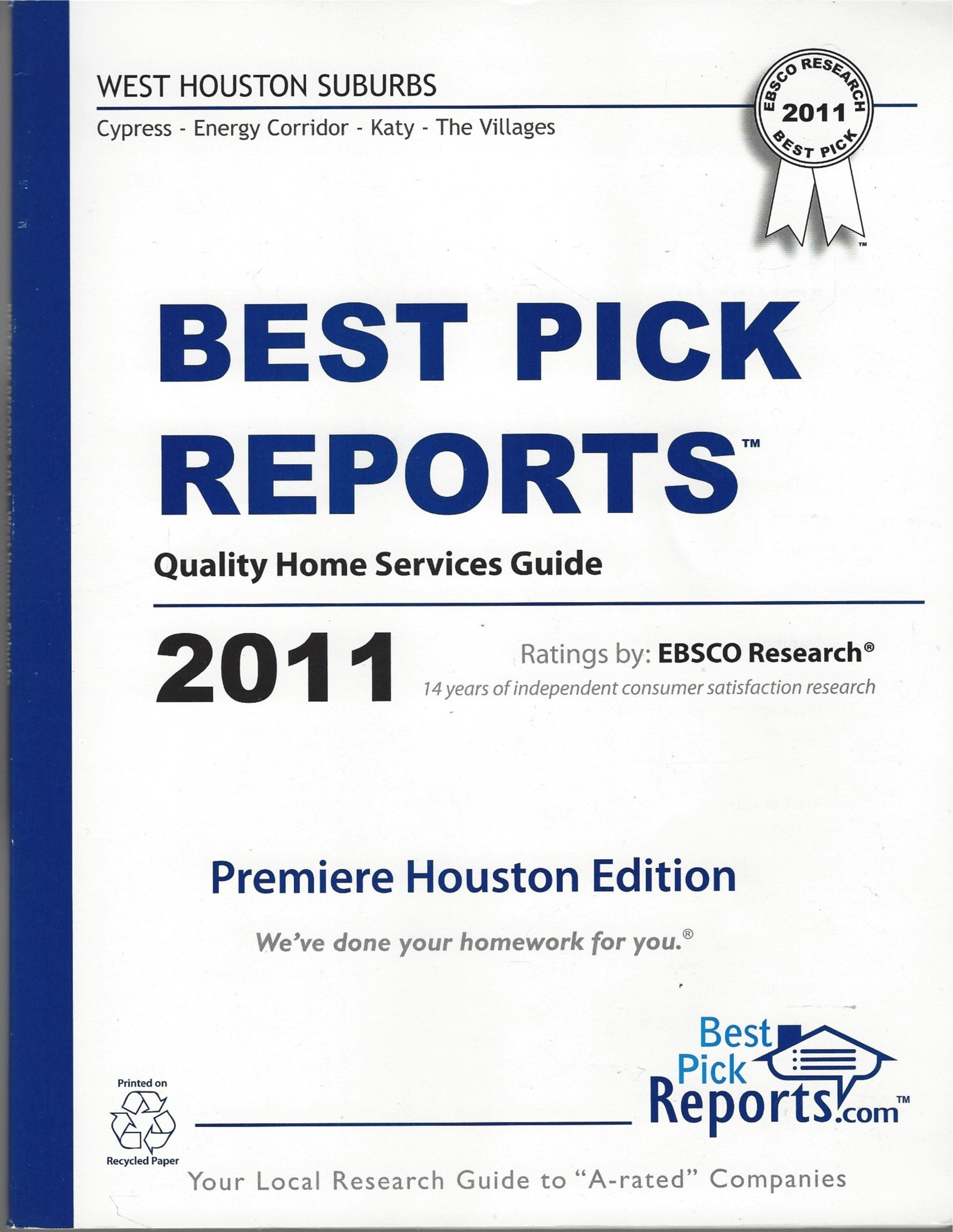 Best Pick Reports Quality Home Services West Houston Suburbs Guide 2011 pdf