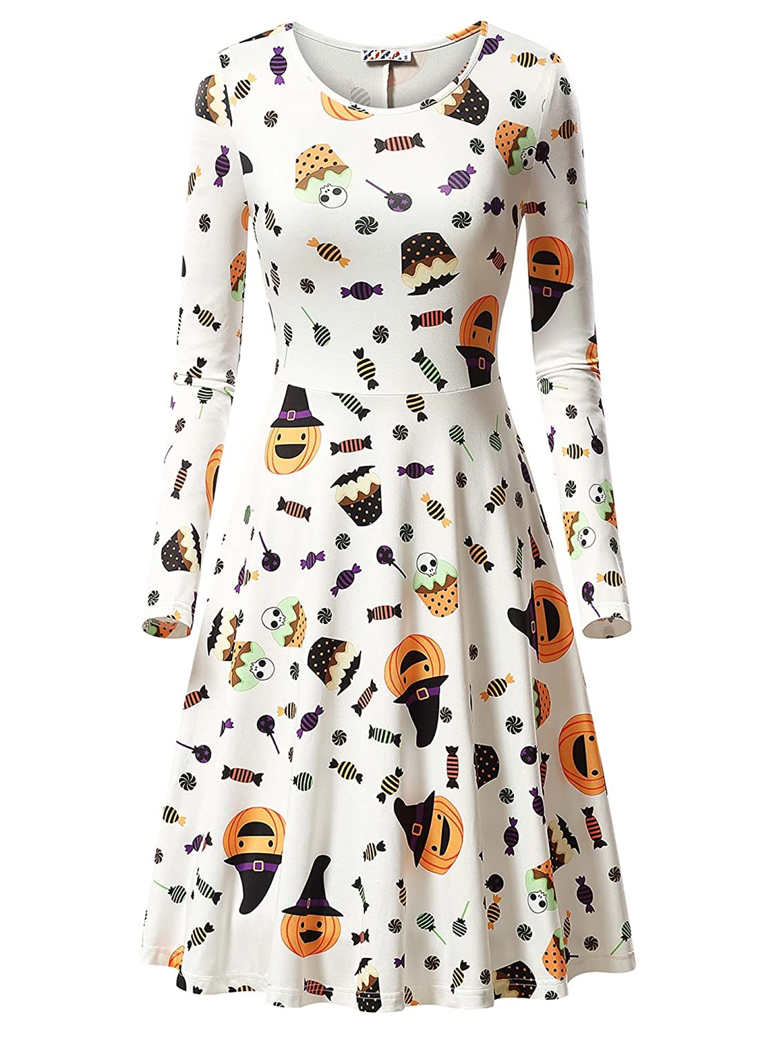 KIRA Womens Halloween Long Sleeve Round Neck Casual Printed Flared Party Dress
