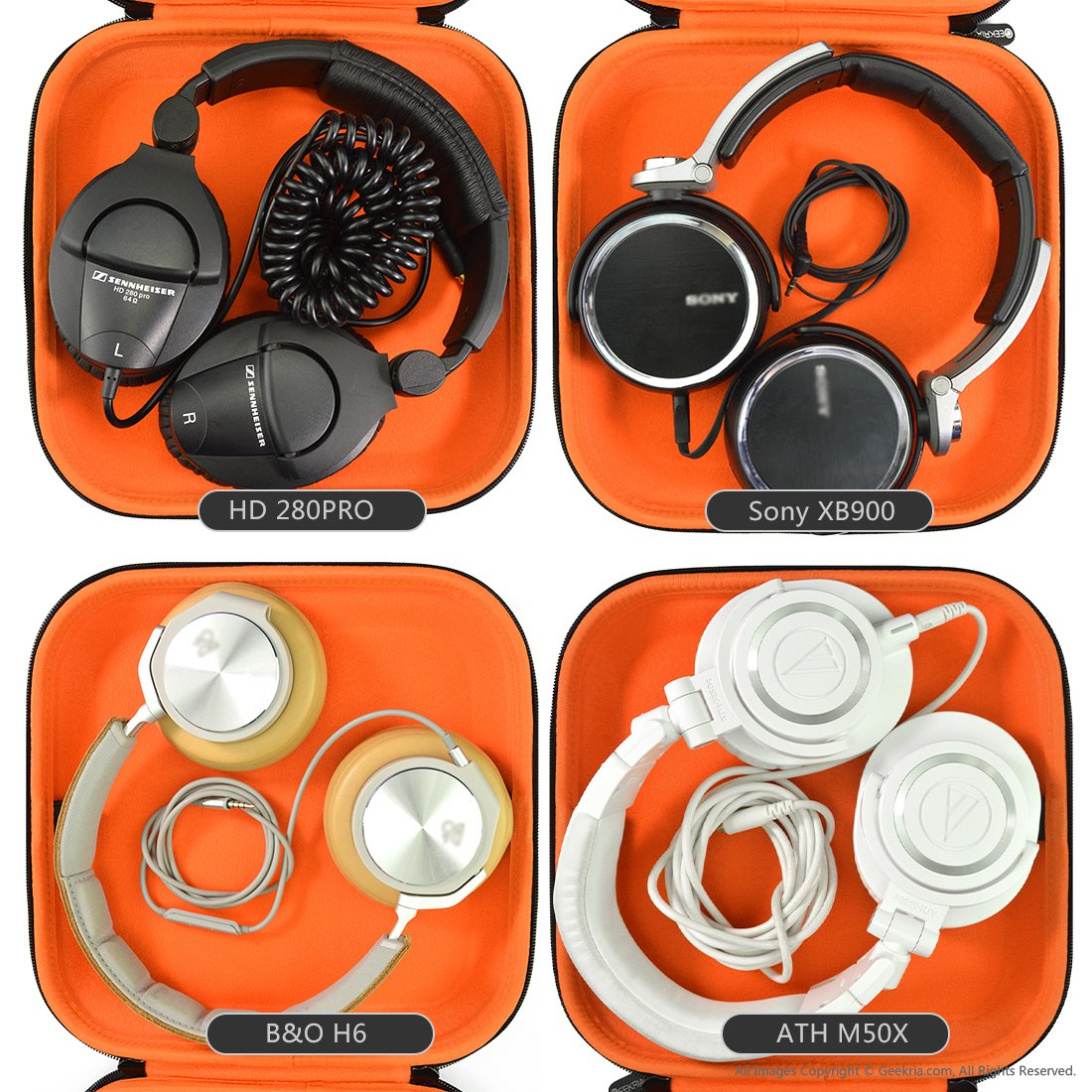 Headphones Case for Audio-Technica ATH M50, M50X, M40, M40X, ESW9, ESW10, Sony MDR-ZX770BN, MDR-XB950, MDR-XB920, MDR-XB900 and More/Hard Carrying Case/Headset Travel Bag (Black Fabric)