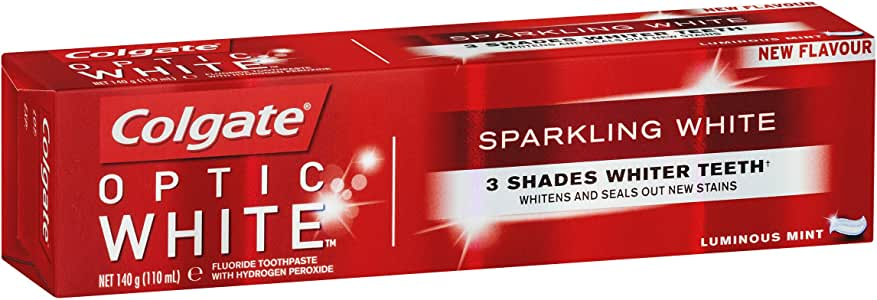 Colgate Optic White Sparkling White Teeth Whitening Toothpaste with hydrogen peroxide, 140g