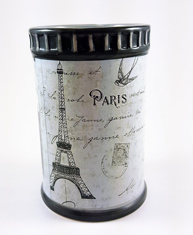 Paris Stamps Tumbler - Black / White by Popular Bath