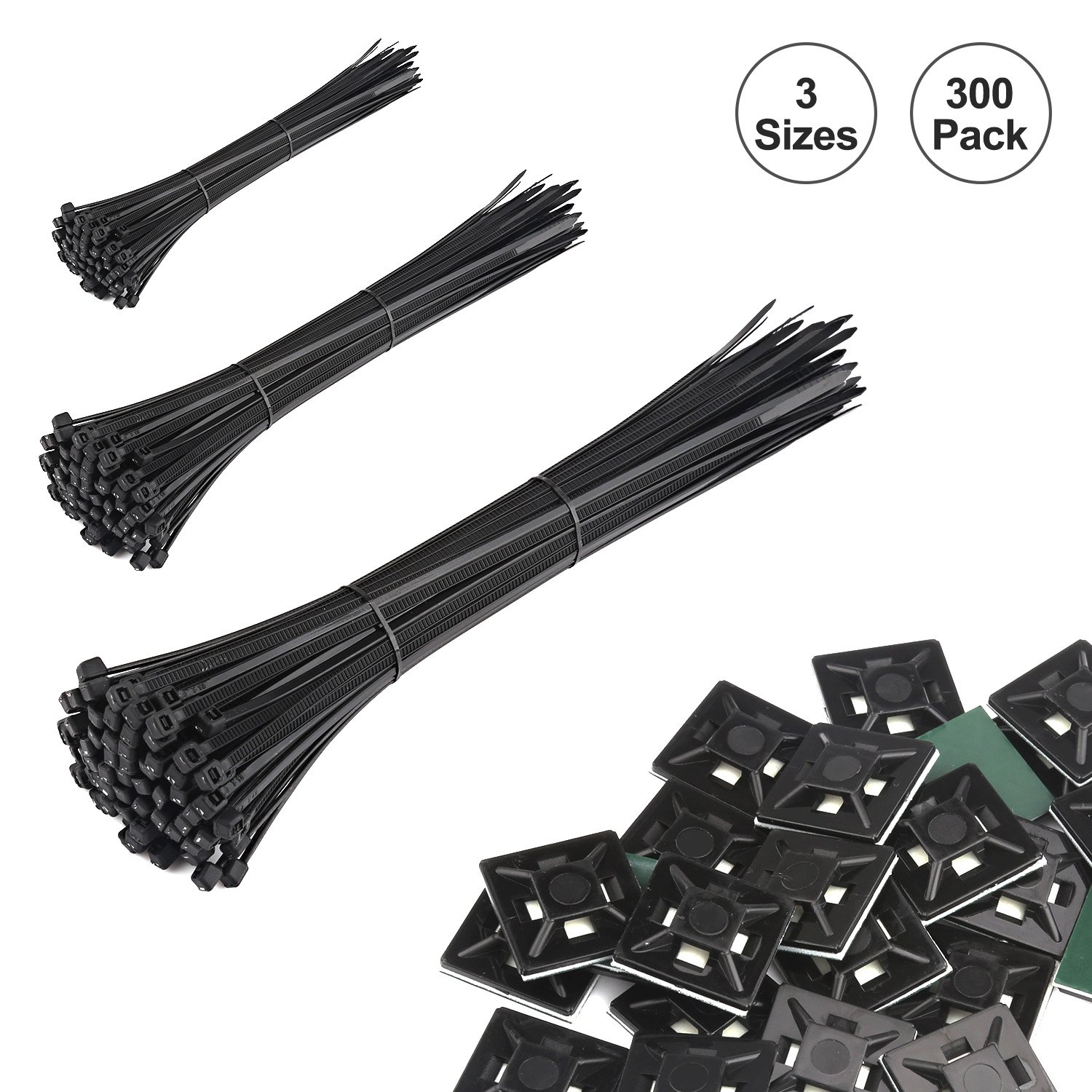 Cable Zip Ties,300 Pack 6+8+10-Inch Heavy Duty Self-Locking Nylon Cabel Ties with 50 Adhesive Backed Cable Mounts, Black Bransio ZD-01