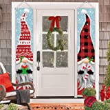 ORIENTAL CHERRY Outdoor Christmas Decorations - Gnomes Porch Sign Banners - Xmas Holiday Decor for Outside Indoor Yard Home F
