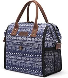 LOKASS Insulated Lunch Bag Large Lunch Box Wide-Open Lunch Tote Bag Durable Drinks Holder Canvas Thermal Snack Organizer for Women Men Adults College Work Picnic Hiking Beach Fishing,Elephant Pattern