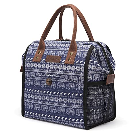 0ed45e107339 LOKASS Insulated Lunch Bag Large Lunch Box Wide-Open Lunch Tote Bag Durable  Drinks Holder Canvas Thermal Snack Organizer for Women Men Adults College  ...